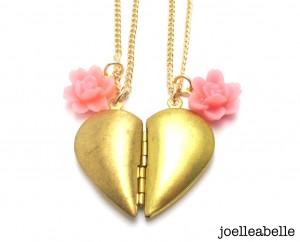 Friendship heart necklaces by joelleabelle