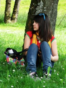 sitting under tree, listening