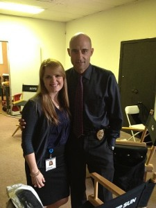 "Kimberly and Mark Strong on set of the new show ""Low Winter Sun"""