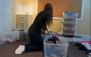 Becca Duberman sorting shoes